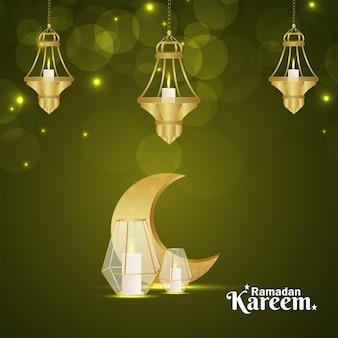 Eid mubarak or ramadan kareem celebration  with golden moon and lantern