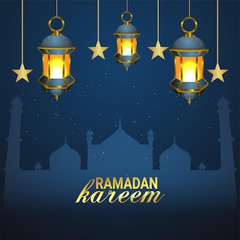 Eid mubarak or ramadan mubarak golden lantern