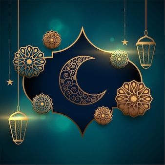 Eid mubarak realistic greeting card with lantern and moon