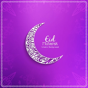 Eid mubarak religious background with crescent moon