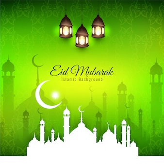 Eid mubarak, religious islamic silhouettes with green background
