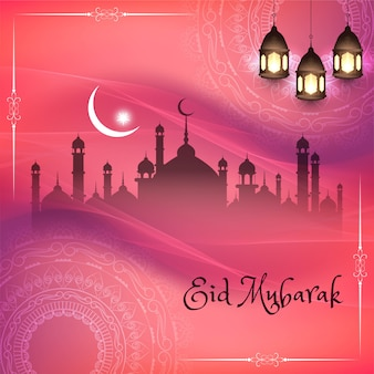Eid mubarak, religious islamic silhouettes with pink background
