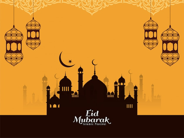 Eid mubarak religious islamic yellow background