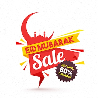 Eid mubarak, sale banner design with crescent moon, mosque and flat 60% off offer.