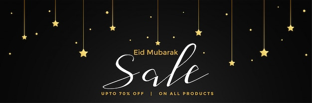 Eid mubarak sale dark banner template design