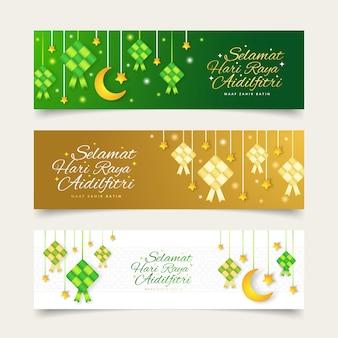 Eid mubarak, selamat hari raya aidilfitri greeting card banner with ketupat