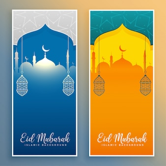 Eid mubarak stylish banners with mosque and lantern