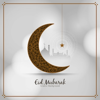 Eid mubarak stylish islamic card with crescent moon
