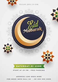 Eid mubarak template or flyer design with crescent moon and isla