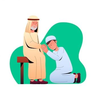 Eid mubarak tradition forgiving cartoon illustration