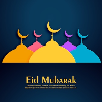 Eid mubarak vector design with colorful mosques