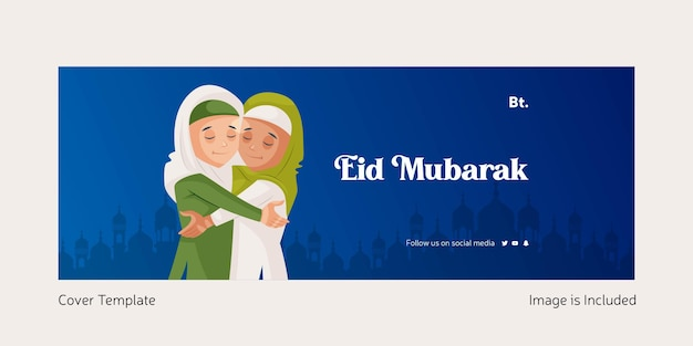 Eid mubarak vector illustration of cover page in cartoon style eid mubarak