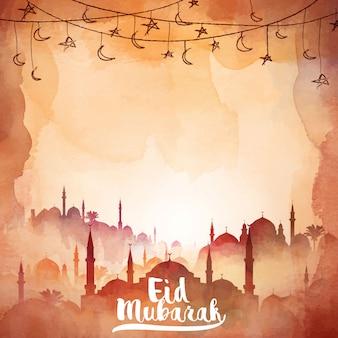 Eid mubarak watercolor mosque silhouette illustration