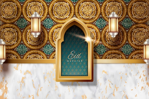 Eid mubarak  with arabesque decorations and marble stone texture background, lanterns hanging in the air