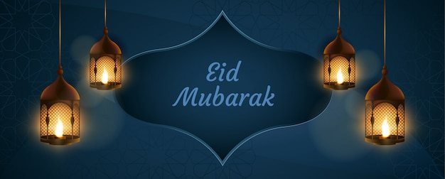 Eid mubarak with candles and decoration islamic