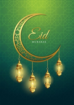 Eid mubarak with crescent moon and lantern
