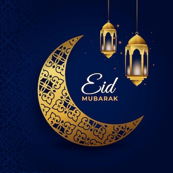 Eid mubarak with golden crescent moon