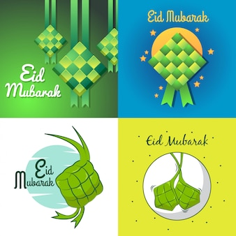 Eid mubarak with hanging ketupat for greeting card and another purpose