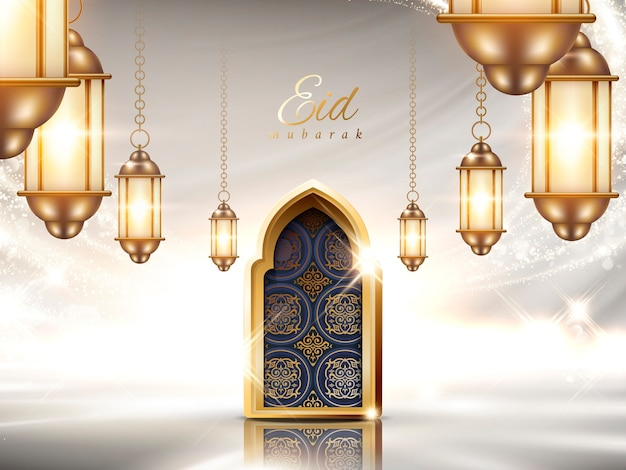 Eid mubarak  with luxurious interior scene, hanging lanterns and arabesque arch on pearl glittering background