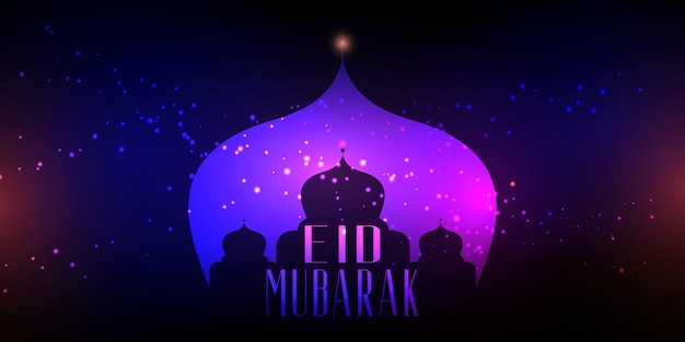 Eid mubarak with mosque silhouette on bokeh lights design