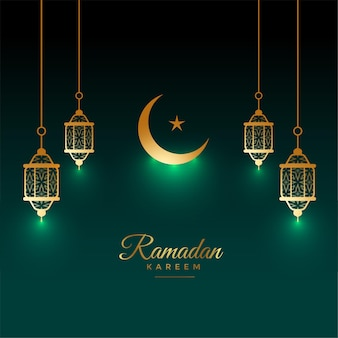 Eid ramadan kareem shiny card with lamp and moon decoration
