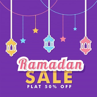 Eid sale banner design, lanterns and flat 50% off offers on purple color background.