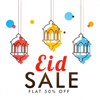 Eid sale banner design with hanging colorful lanterns and flat 50% off offers.