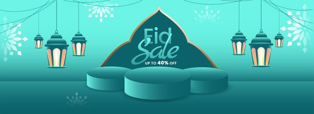 Eid sale banner or header design with 40% discount offer and lanterns hang on turquoise background.