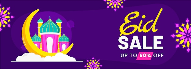 Eid sale banner or header design with 50% discount offer, crescent moon, mosque illustration on purple background.