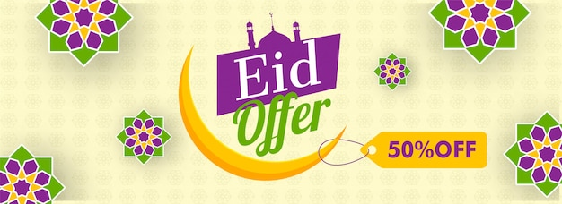 Eid sale header or banner design with 50% discount offer and cre
