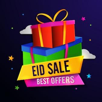 Eid sale con le migliori offerte di sconto. scatole regalo avvolto lucido su stelle e nuvole decorato sfondo.