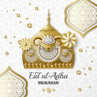 Eid ul adha background. islamic arabic lanterns and sheep. greeting card. festival of the sacrifice. illustration.