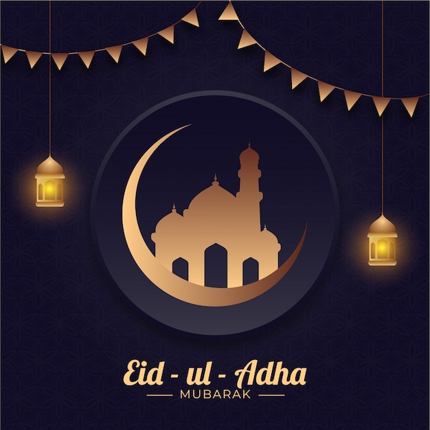 Eid-ul-adha mubarak concept with bronze crescent moon, mosque, hanging illuminated lanterns and bunting flags on blue arabic pattern background.