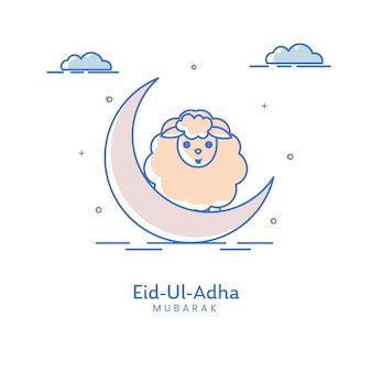 Ид-уль-адха мубарак концепция с полумесяцем, мультяшными овцами и облаками на белом фоне.