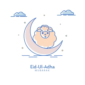 Eid-ul-adha mubarak concept with crescent moon, cartoon sheep and clouds on white background.