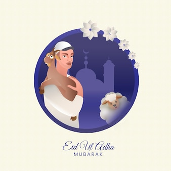 Eid ul adha mubarak concept with muslim man holding a goat, cartoon sheep on white and blue silhouette mosque background.