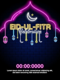 Eid-ul-fitr neon lighting effect with crescent moon and hanging lanterns. template