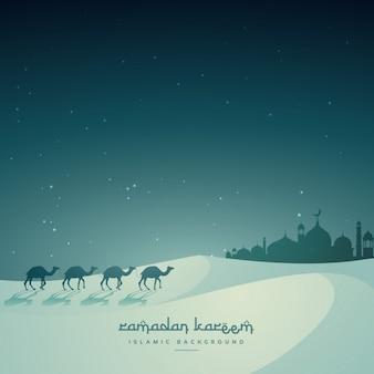 ラクダやマスジドとイスラムの祭りのeidの背景