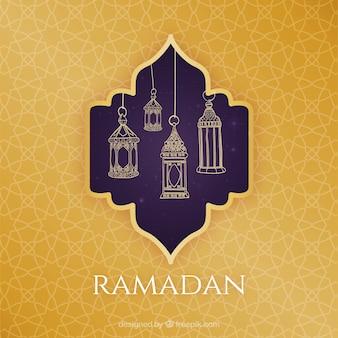 ラマダンカリームまたはeidilfitrためにイスラムのグリーティングカードテンプレート