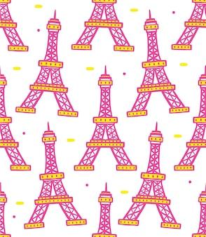 Eifel tower seamless pattern in flat design style