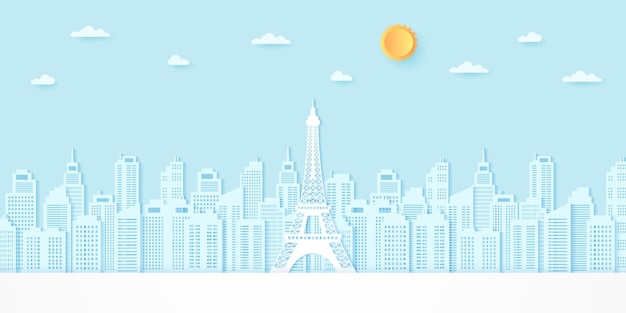 Eiffel tower among buildings with sun and cloud, paper art style
