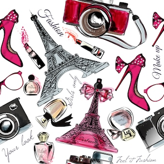 Eiffel tower background and hand drawn fashion objects