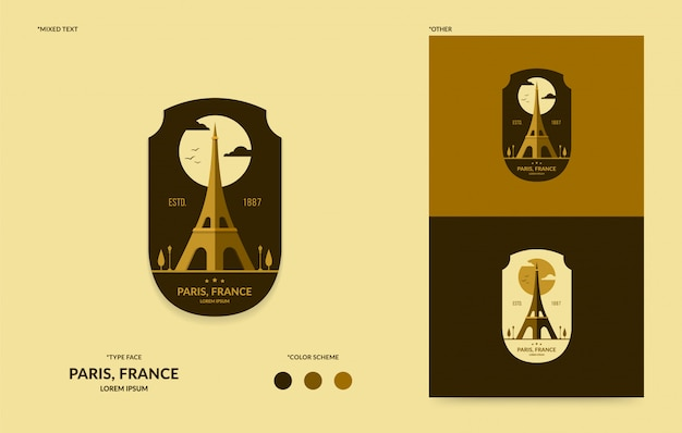 Eiffel tower badge template