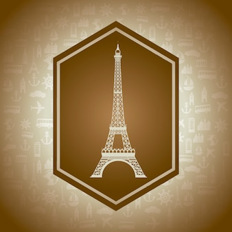Eiffel tower over brown background vector illustration