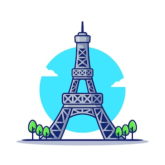 Eiffel tower cartoon   icon illustration.famous building traveling icon concept isolated  . flat cartoon style