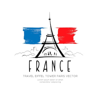 フランスのエッフェル塔の旗スケッチベクトルデザインの背景図