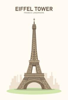 Эйфелева башня франция достопримечательность минималистская иллюстрация
