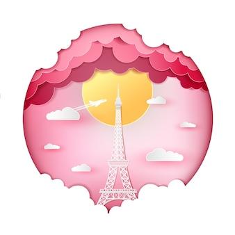 エッフェル塔フランスパリと雲の心のピンクの背景