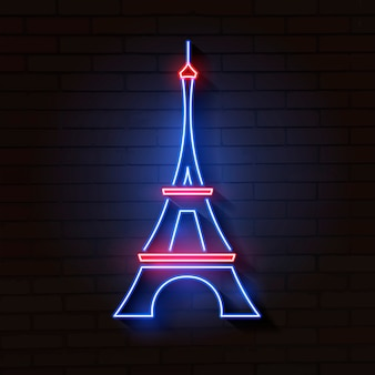 Эйфелева башня в неоновом свете на кирпич