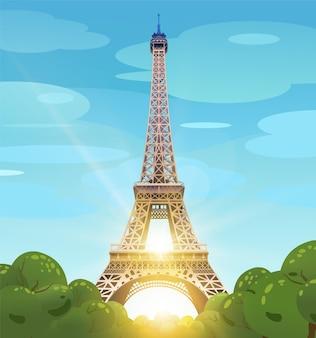 青い空を背景にパリのエッフェル塔。シャンゼリゼ通りの太陽。昼間のパリ。エッフェル塔の昼間の太陽。図